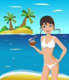 Woman in Bikini with Cocktail Stock Images
