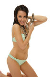 Sexy woman in bikini with a snake Royalty Free Stock Photography
