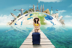 Sexy woman with bikini vacation to the world monument Stock Image