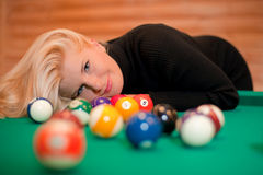 Sexy woman with billiard balls Stock Photography