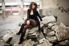 Sexy woman in black Royalty Free Stock Photo