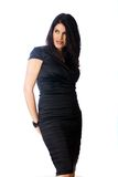 Sexy woman in a black cocktail dress Royalty Free Stock Photos