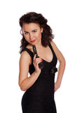 Sexy woman in black dress with a gun Royalty Free Stock Photography