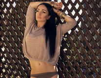 Sexy woman with black hair in cardigan with bijou Royalty Free Stock Photography