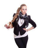 Sexy woman in black jacket with bijouterie Stock Photo