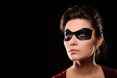 Sexy woman with black party mask on face Royalty Free Stock Photo