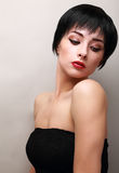 Sexy woman with black short hair styly looking Royalty Free Stock Photography