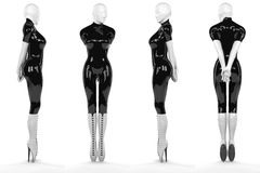 Sexy Woman in black and white latex Stock Photos