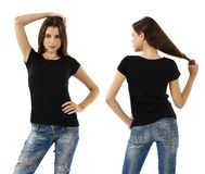 Sexy woman with blank black shirt and jeans. Young beautiful sexy female with blank black shirt, front and back. Ready for your design or artwork Royalty Free Stock Photo