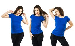 Sexy woman with blank blue shirt Royalty Free Stock Photo