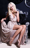 Sexy woman with blond hair with glass of champagne Royalty Free Stock Photo