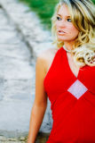 Sexy Woman - Blonde Model in Formal Red Dress Royalty Free Stock Images