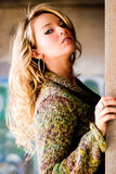Woman - Blonde Model in Sweater royalty free stock photos