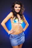 Sexy woman on blue Stock Photo