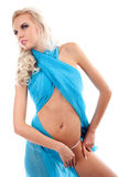 sexy woman with blue fabric on a white Stock Image