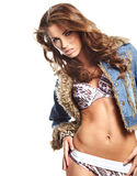 Sexy woman in blue jeans Stock Photography