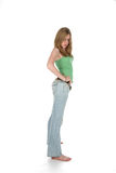 Sexy woman in blue jeans and green shirt Royalty Free Stock Photos