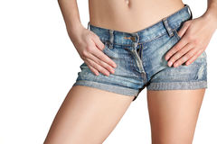 Sexy woman body in jean shorts Stock Image