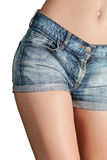 Sexy woman body in jean shorts Royalty Free Stock Images