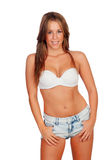 Sexy woman body in jean shorts. Isolated on a white background Stock Photography