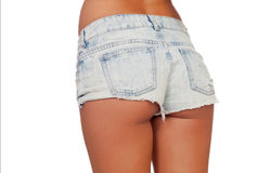 Sexy woman body in jean shorts Stock Photos
