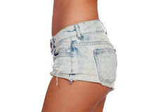 Sexy woman body in jean shorts Royalty Free Stock Photos