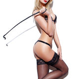 Sexy woman body with whip Royalty Free Stock Image