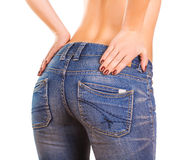 Sexy woman Booty in blue jean Royalty Free Stock Images