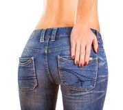 Sexy woman Booty in blue jean Stock Photo