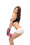 Sexy woman in box gloves on hands Royalty Free Stock Photography