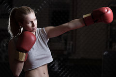 Sexy woman during box training Stock Photo