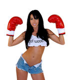Sexy Woman Boxer. Sexy woamn in boxing gloves and asking if you Got Wood Stock Images