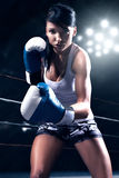 Sexy woman boxing Stock Photo