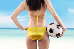 Sexy woman brazil fan at beach Stock Photography