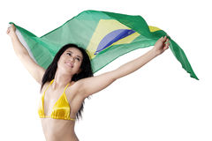 Sexy woman brazil fans holding flag Royalty Free Stock Image