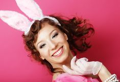Sexy Woman with Bunny Ears. Playboy Blonde. Smiling Easter Stock Images