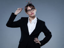 Sexy woman business secretary thinking Stock Image