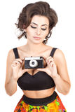 Sexy woman with camera Stock Photo
