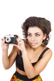 Sexy woman with camera Stock Images