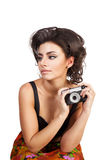 Sexy woman with camera Royalty Free Stock Photography