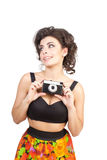 Sexy woman with camera Royalty Free Stock Images
