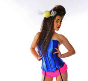 woman with candy in her hair in a corset and panties Stock Photography