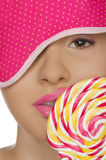 Sexy woman with candy in his mouth and blindfold Royalty Free Stock Photo