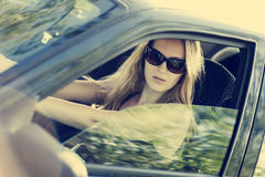 Sexy woman in car Stock Photo