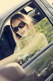 Sexy woman in car Royalty Free Stock Photography