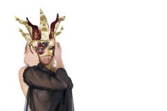 woman with carnival venice mask on her face Royalty Free Stock Image