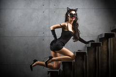 Sexy woman in catwoman suit lying on stairs Royalty Free Stock Images