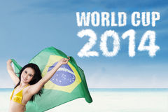 Woman celebrating football competition. Portrait of pretty woman holding brazilian flag. shoot at beach stock photos