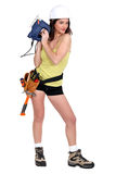 woman with chainsaw royalty free stock photos