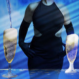 Sexy woman with champagne Stock Photos